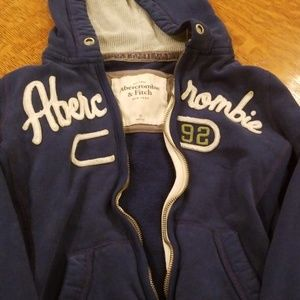 Dark blue zip up hoodie by Abercrombie and Fitch